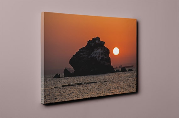 Golden Sunset and a Full Moon v1 on Mirror Wrapped Premium Canvas