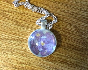 Pressed Flower Necklace Purple and Blue