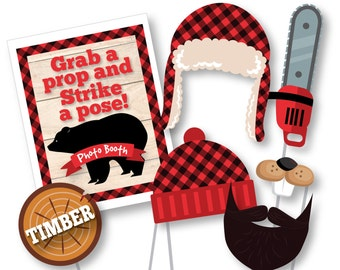 Lumberjack Photo Booth Props - Photobooth Props - Lumberjack and Jill party, Woodland Decor, Buffalo Plaid Instant Download, printable files