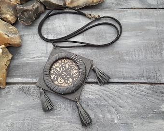 Long leather necklace. Boho necklace. Bohemian necklace. Tribal necklace. Tassel necklace. Black leather necklace. Boho jewelry. Boho chic.