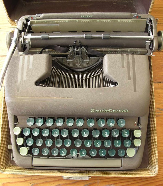 Vintage Smith-Corona Sterling manual typewriter with tweed case, 1953 typewriter, 50s typewriter, vintage typewriter, midcentury typewriter