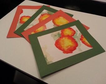 Green & Orange Poppy Cards