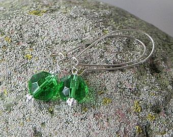 Green Earrings Glass Earrings Glass Dangly Earrings Green Fun Earrings Bright Jewelry Handmade Earrings Green Bead