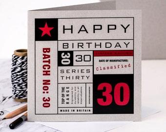 30th Birthday Card; Card For 30th Birthday; GC138