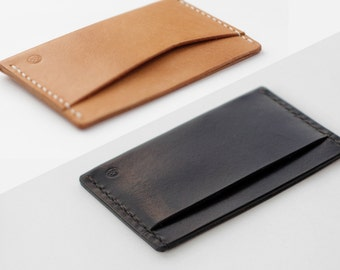 Leather name card holder / business card holder   - Hand stitched genuine Italian veg tan Leather