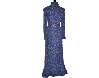 Vintage Blue Dress by Dolly Rockers // Edwardian Style Dress from the 1970's // Blue Floral Dress // Size XS