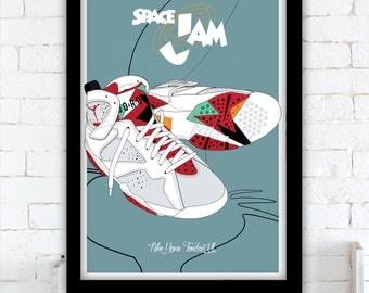 """Space Jam"""" - Nike Air Jordan VII """"Hare"""" poster - 1997"""
