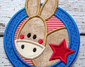 Iron On Or Sew On Applique - Donkey - Democrat - Democratic - DNC