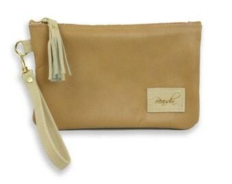 Tan / Cream Leather Wristlet with Tassel -  Leather Wristlet in Tan / Cream