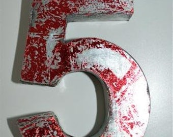 Fantastic vintage style red 3D metal sign number 5