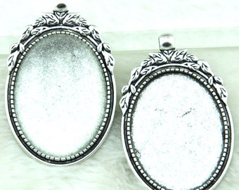 Cabochon Base Setting  Antique Silver / Antique Bronze Oval Cameo Charm Pendants 30x40mm-----G1849