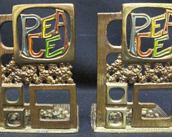 Vintage Abada Brass PEACE Bookends Israel