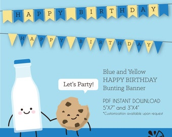Blue and Yellow Happy Birthday Bunting Banner Printable INSTANT DOWNLOAD