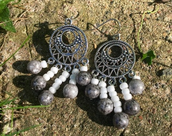 White glass and silver earrings
