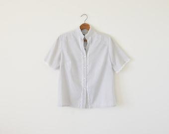 70s grey blouse / lace trim top / vintage blouse top