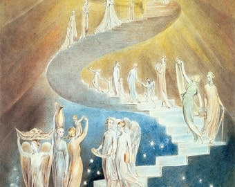 William Blake: Jacob's Ladder. Fine Art Print/Poster. (003578)