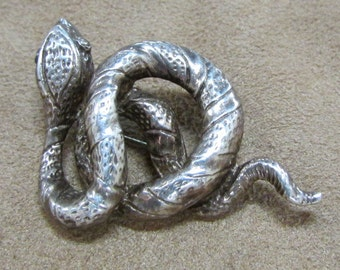 Sterling Silver Coiled Snake Pin