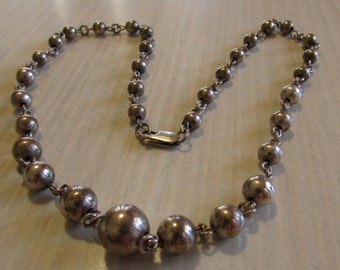 Sterling Silver Beads and Chain Necklace