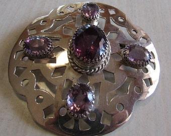 Handmade Sterling Silver and Amethyst Tartan Sash Pin  (J)