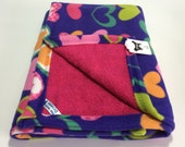 PET BLANKET Small Lush Terry & Fleece Reversible Pet Blanket Purple Hearts with Bright Pink Terry