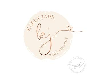 Gold rose logo Premade circular logo Heart logo Initial logo for photography watermark signature logo