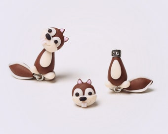 OOO - polymer clay squirrel / rabbit earring
