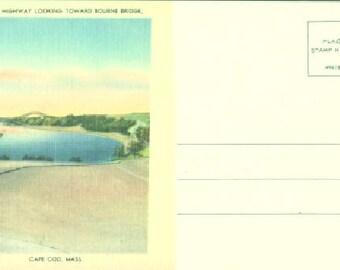 POSTCARD: Scenic Highway Looking Toward Bourne Bridge, Cape Cod, Mass.