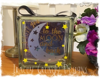 Glass Block Light - I Love You to the Moon and Back
