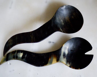 Horn Salad Serving Spoon and Fork