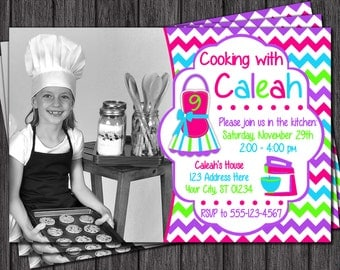 Cooking Party Invitation - Cooking Birthday Invitation - Baking Invitation
