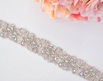 Bridal Belt-Bridal Sash-Rhinestone and Pearl Belt-Wedding Belt-Bridesmaids Belt-Rhinestone Applique Belt -EYM B109