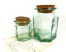 Set Green Glass Storage Pot French Kitchen storage cork lid octal rough glass urn jar cottage farmhouse housewarming gift birthday mother