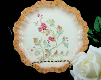 Ruffled Pottery Plate with Wild Flowers  , Wall Hanging Decor Plate