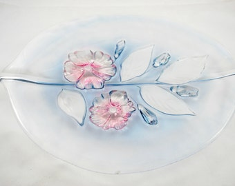 Mikasa Glass Platter, Calypso pattern,  with Blue and Pink Flowers