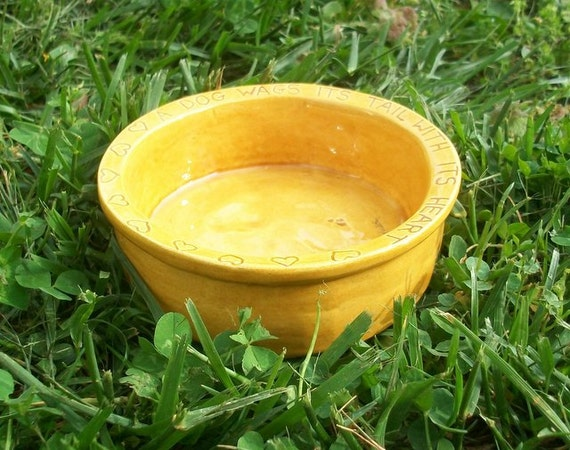 Small Ceramic Dog Bowl -- Joe Bowl Jr. in Amber Glaze, A Dog Wags Its Tail With Its Heart