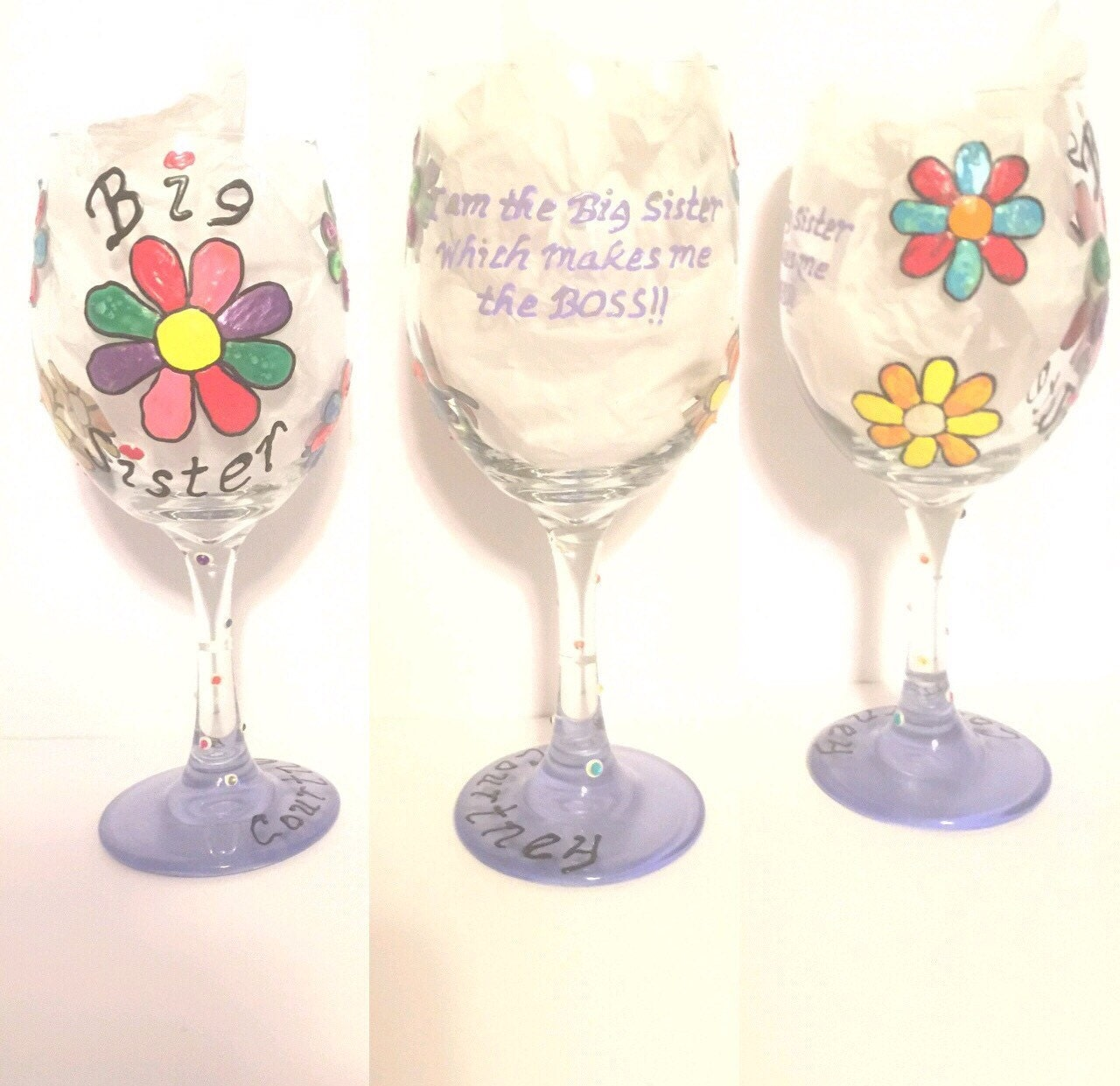 Painted Wine Glasses For Sisters
