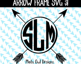 Cricut SVG - Tribal Monogram Arrow Frame SVG Cut File- Bohemian - Boho - Arrows - Silhouette - Cutting Files