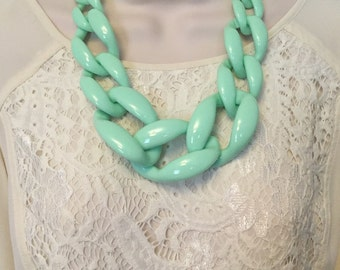 Mint Green Chunky Chain Lucite Link Housewife Statement Necklace
