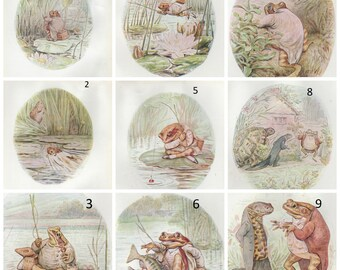 The Tale of Jeremy Fisher original Vintage print  from 1970's-  by Beatrix Potter gorgeous nostalgic artwork