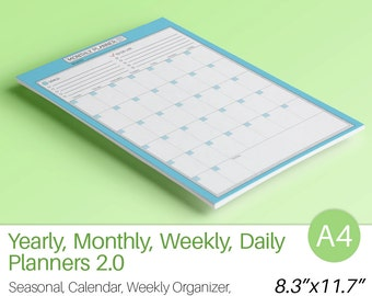 Daily Weekly Monthly Yearly Planners SET Printable PDF A4 Filofax Organizer Calendar Agenda To Do List Life planner Instant Download 7 pages