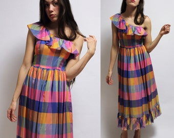 Multicolor One Shoulder Ruffle Dress