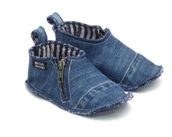 Denim Slippers for Kids, zippered