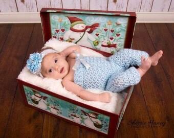 Newborn girl winter romper photo prop - 0 to 3 month baby girl photo prop - newborn photo prop - baby girl winter