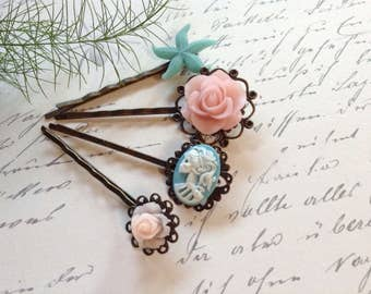 Clips Baby Blue Skull, Pinkie Roses And Starfish Bobby Pins