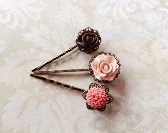 Chocolate And Peach Flower Hair Clips
