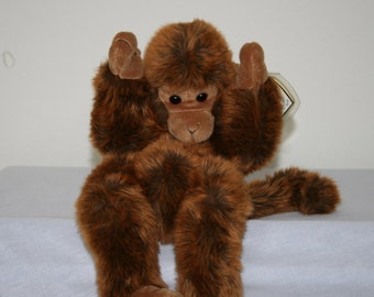 """SALE! 55.00! Ty Classic """"Mischief"""" The Darling Auburn Monkey Designed and Signed By Bear Artist Sally Winey/Retired in 1995"""