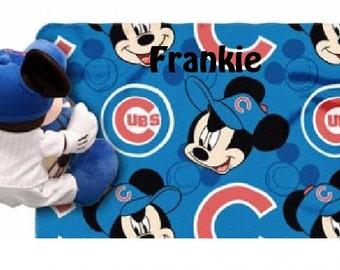 Baseball Chicago CUBS Baseball Fleece Throw Blanket & Mouse Hugger - Personalized