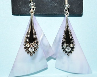 Beautiful Vintage Soft Purple Mother of Pearl, Black Enamel and Rhinestone Oval Earrings (1017147)