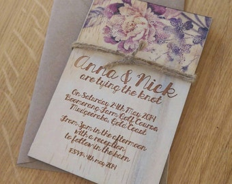 Wood Wedding invitation.  Vintage finish colour prints. Laser Etched Wooden Invitation. Set of 10