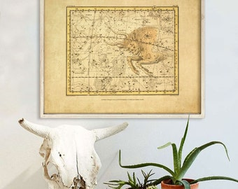 "Taurus sign print 1822 Vintage Taurus constellation zodiac star map, 4 sizes up to 36x30"" (90x75cm) Astrological - Limited Edition of 100"